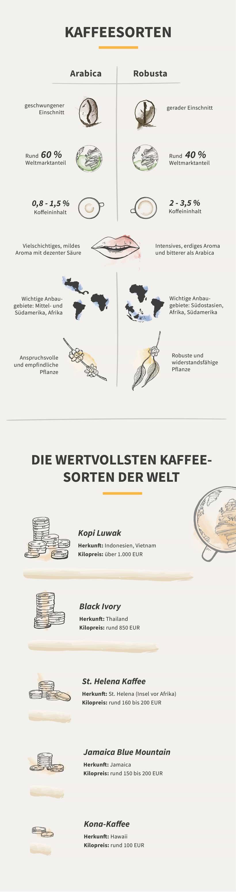 Infografik zu Kaffeesorten