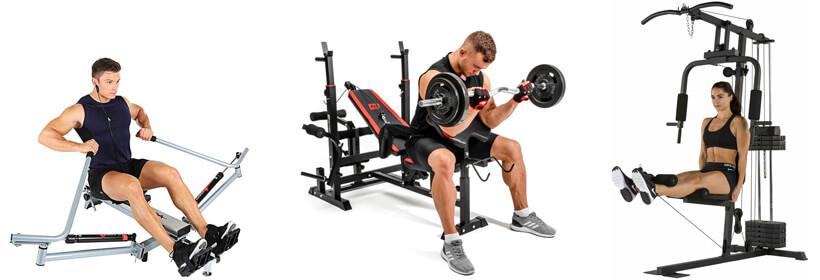 Verschiedene Geräte für das Fitnessstudio zuhause: Rudergerät, Schrägbank und Kraftstation
