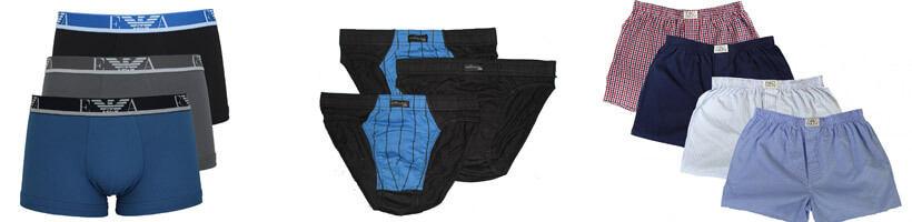 Boxer Briefs, Slips und Boxershorts in verschiedenen Farben