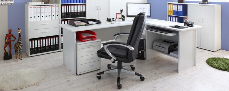 Arbeitszimmer mit Schreibtisch und Aktenschränken
