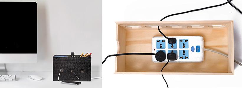 Kabelboxen aus Holz und Kunststoff