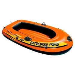 Kleines aufblasbares Schlauchboot mit Griffen und Haftleine. Zur Verzierung sind Rennstreifen aufgemalt.