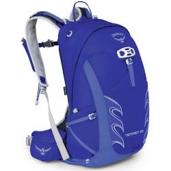 Blau-weißer Rucksack mit einem Volumen von 20 bis 30 Litern