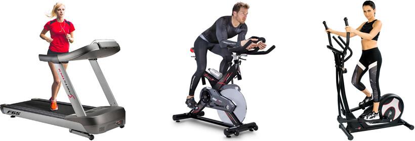 Verschiedene Geräte für das Fitnessstudio zuhause: Laufband, Crosstrainer und Ergometer