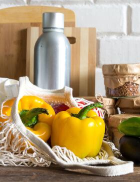 Paprika in Obstnetz