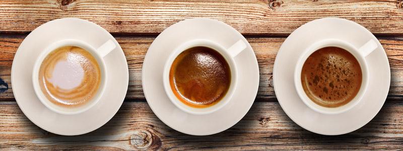 Kaffee in verschiedenen Intensitäten
