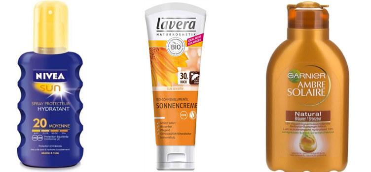 Verschiedene Sonnenschutzmittel
