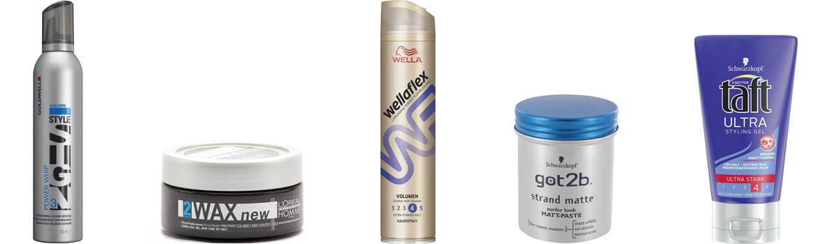 Verschiedene Haarstylingprodukte
