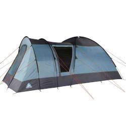 blaues Zelt für fünf Personen mit Vorzelt