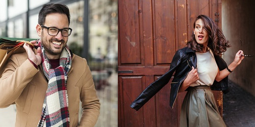 Stilbewusster Mann und Frau
