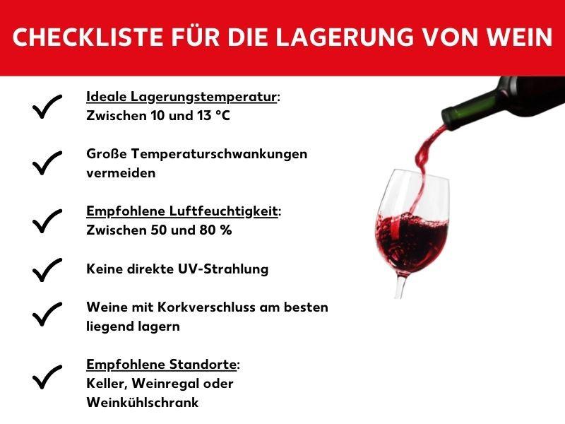 Checkliste für Weinlagerung
