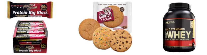 Energieriegel mit Protein, vegane Eiweiß-Cookies und Whey-Pulver