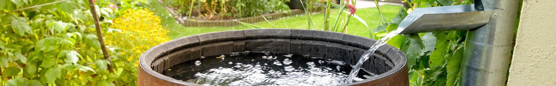 Regentonne fängt Wasser auf