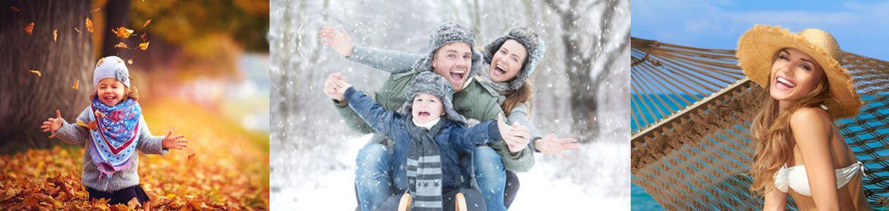 Kind spielt mit Blättern, Familie im Schnee, Frau am Strand in Hängematte