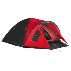 rotes Zelt für zwei Personen mit Vorzelt