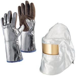 Feuerschutzhandschuhe und -helm