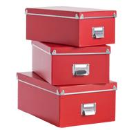 Rote Ordnungsboxen aus Pappe