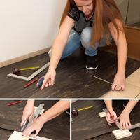 Frau beim Verlegen eines PVC-Bodens.