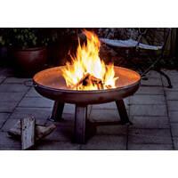Feuerschale mit brennendem Holz
