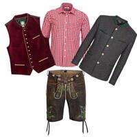 Lederhose mit Weste, Hemd und Janker