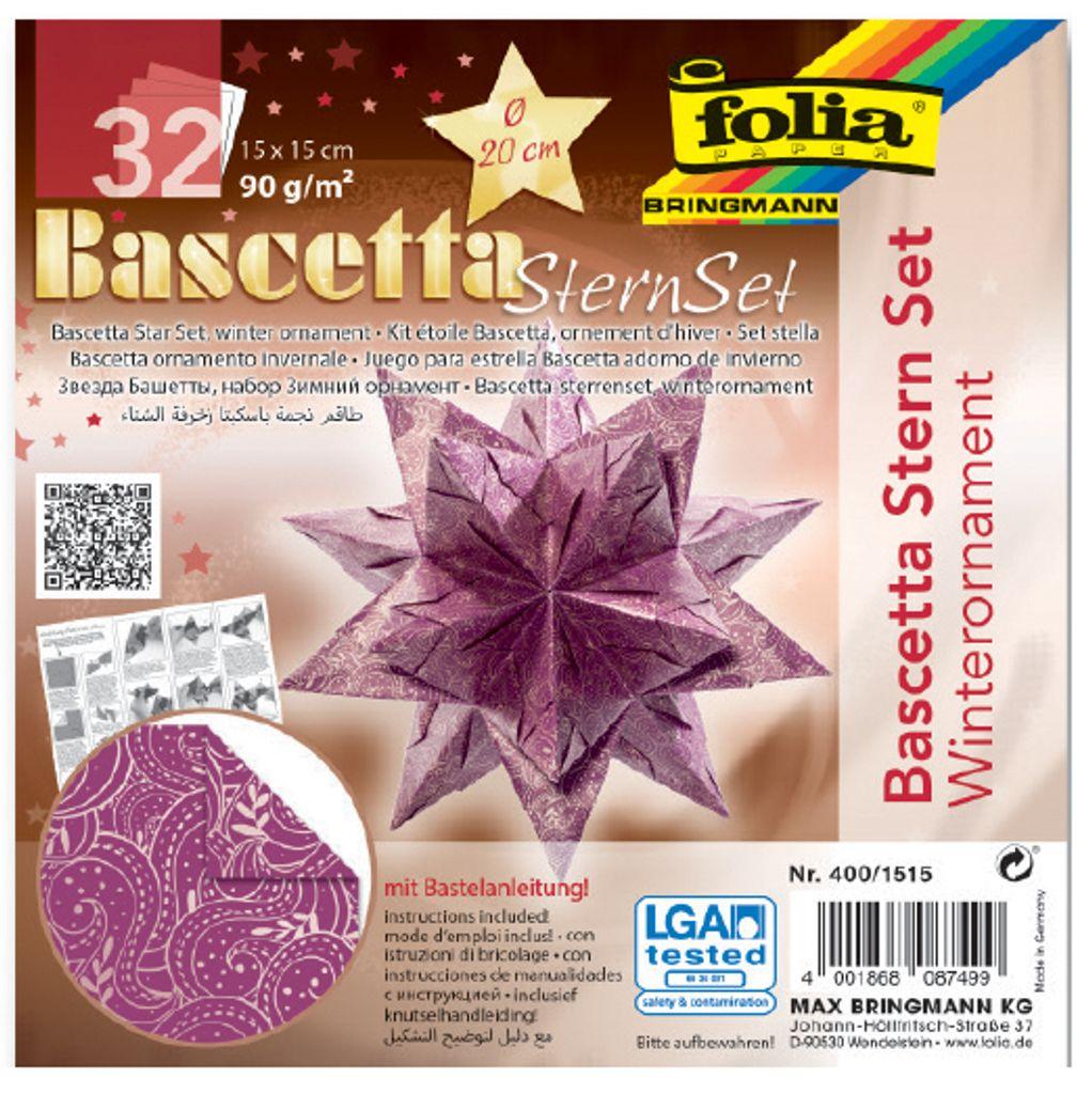 150 x 150 mm FOLIA dépliants Bascetta-Stern rouge//or