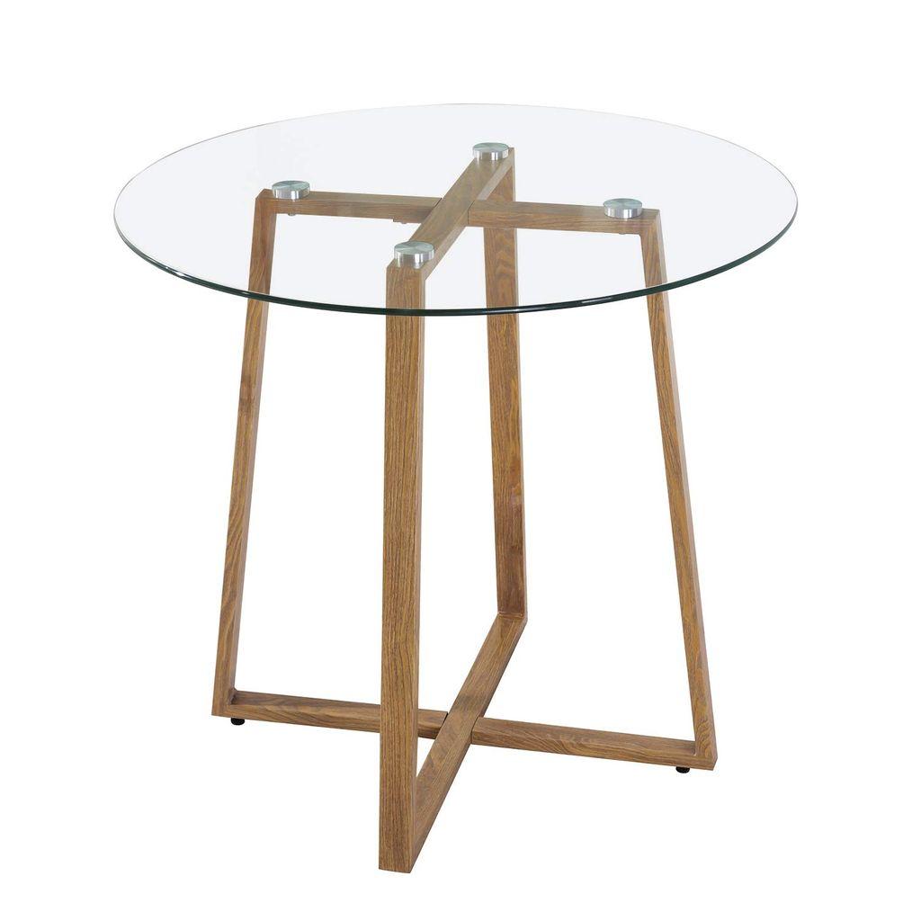 IPOTIUS Rund Esstisch Glastisch Modern Skandinavisch Esszimmertisch  Kaffetisch Küchentisch mit Metallbeine Eichenfinish, 9  9  9 cm, Glas