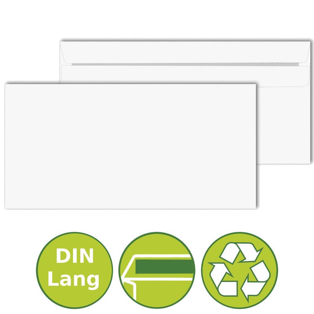 Briefumschlag DIN Lang Briefumschläge ohne Fenster 110 x 220 mm selbstklebend