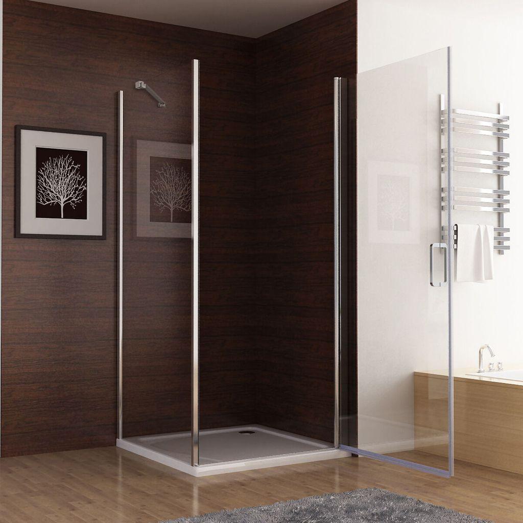 Duschkabine 90x90cm Eckeinstieg Duschabtrennung Nano Glas Scharniertür Duschtür