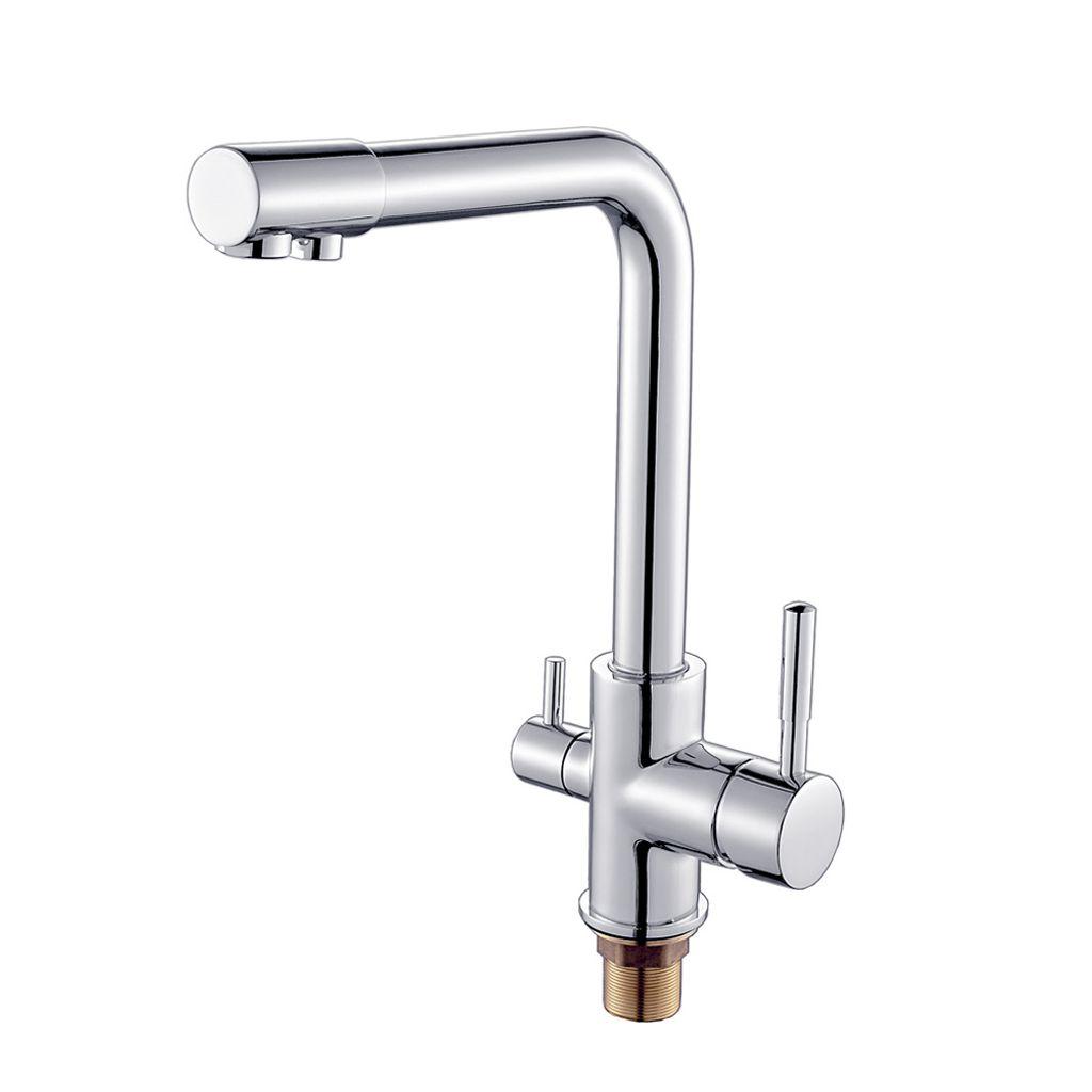 Küchenarmatur 3-Wege-Wasserfilter Wasserhahn Edelstahl gefiltertes Trinkwasser