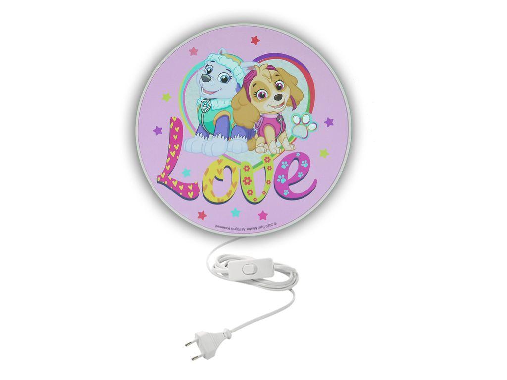 LED Kinderzimmer Wandlampe mit Schalter Ø 12cm Rosa PAW PATROL die super  Hunde