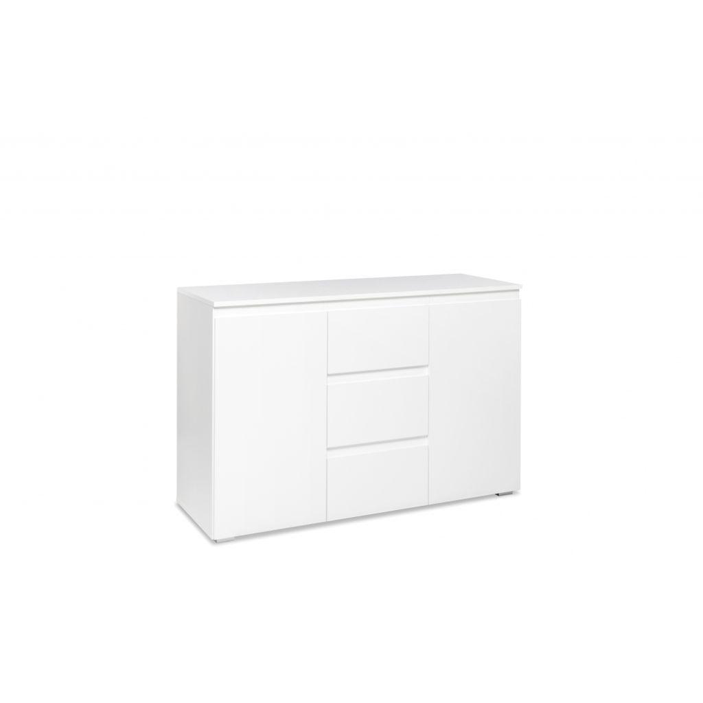 Sideboard Schrank Kommode weiß 3 Türen 2 Schübe Wohnzimmer Modern 120cm