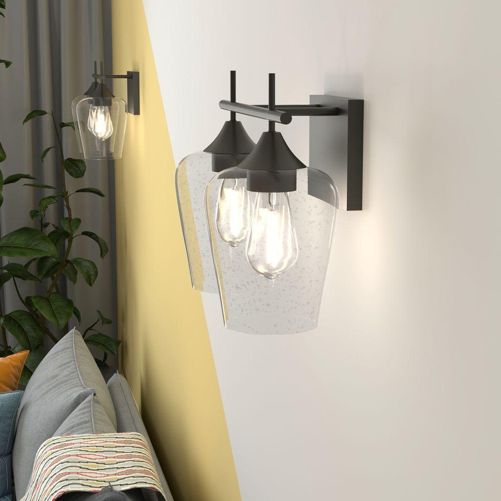 COSTWAY Wandlampe Glas, Wandleuchte 20 flammig, Retro Badleuchte Industrial  Vintage Leuchte Metallbasis für Schlafzimmer Badezimmer Wohnzimmer Loft