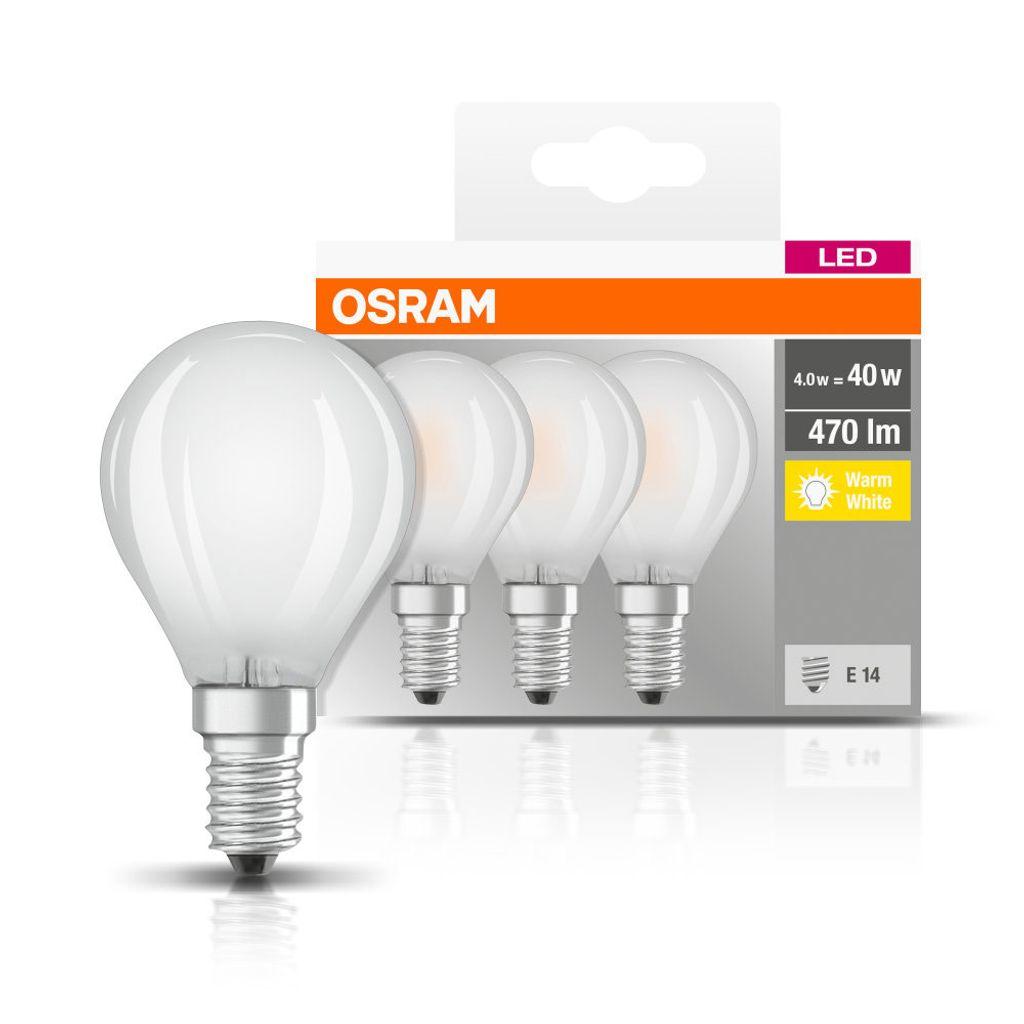 OSRAM LED BASE CLASSIC P 40 FS Warmweiß Filament Matt E27 Tropfen 3er Pack