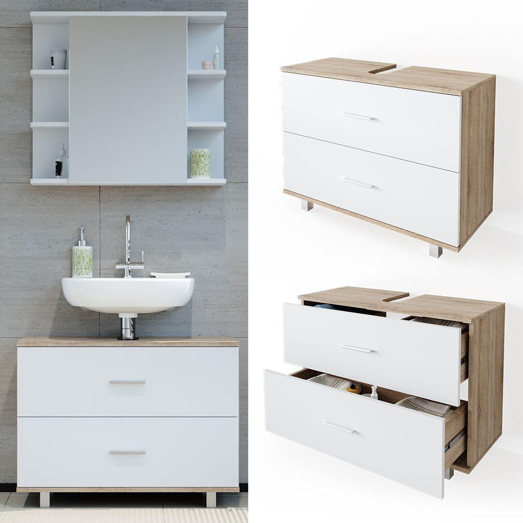 VICCO Waschbeckenunterschrank ILIAS Weiß Eiche Schublade Unterschrank  Badezimmer