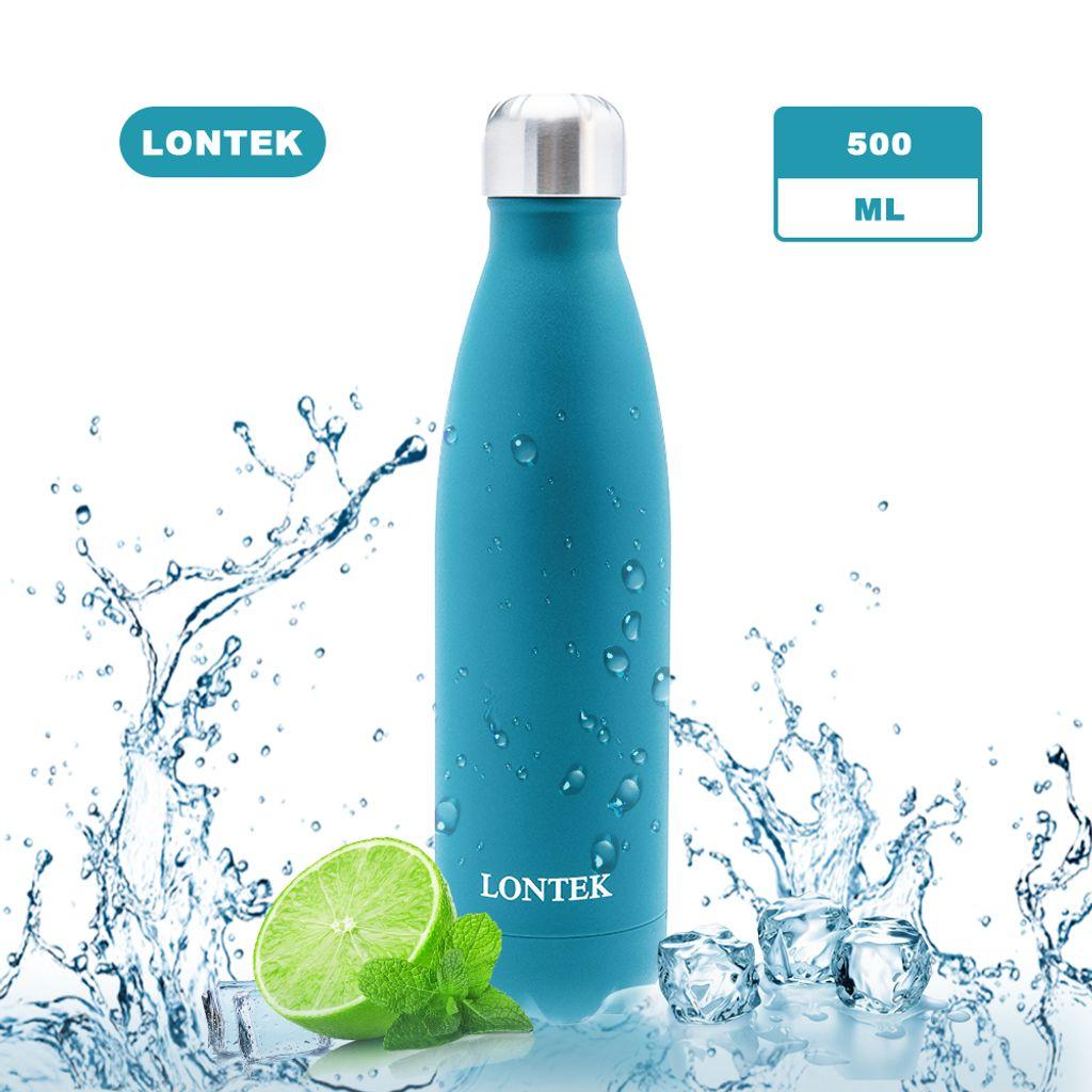 3 x Trinkflasche Edelstahl schwarz 500 ml Wasser Flasche Isolierflasche Vakuum