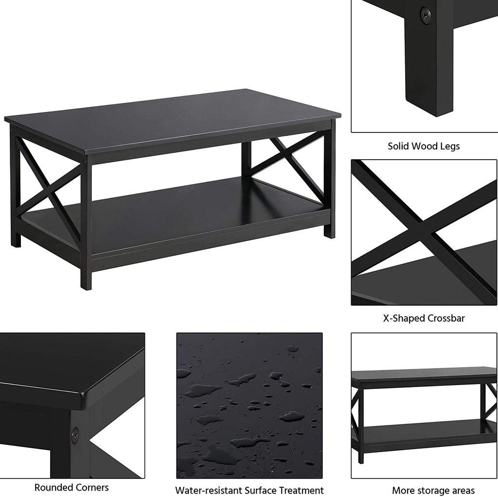 Merax Couchtisch Beistelltisch aus Holz mit Lagerregal, Wohnzimmer  Wohnzimmertisch Holztisch Kaffeetisch Tisch mit Modern X Design 10 x 10 x  10 cm ...