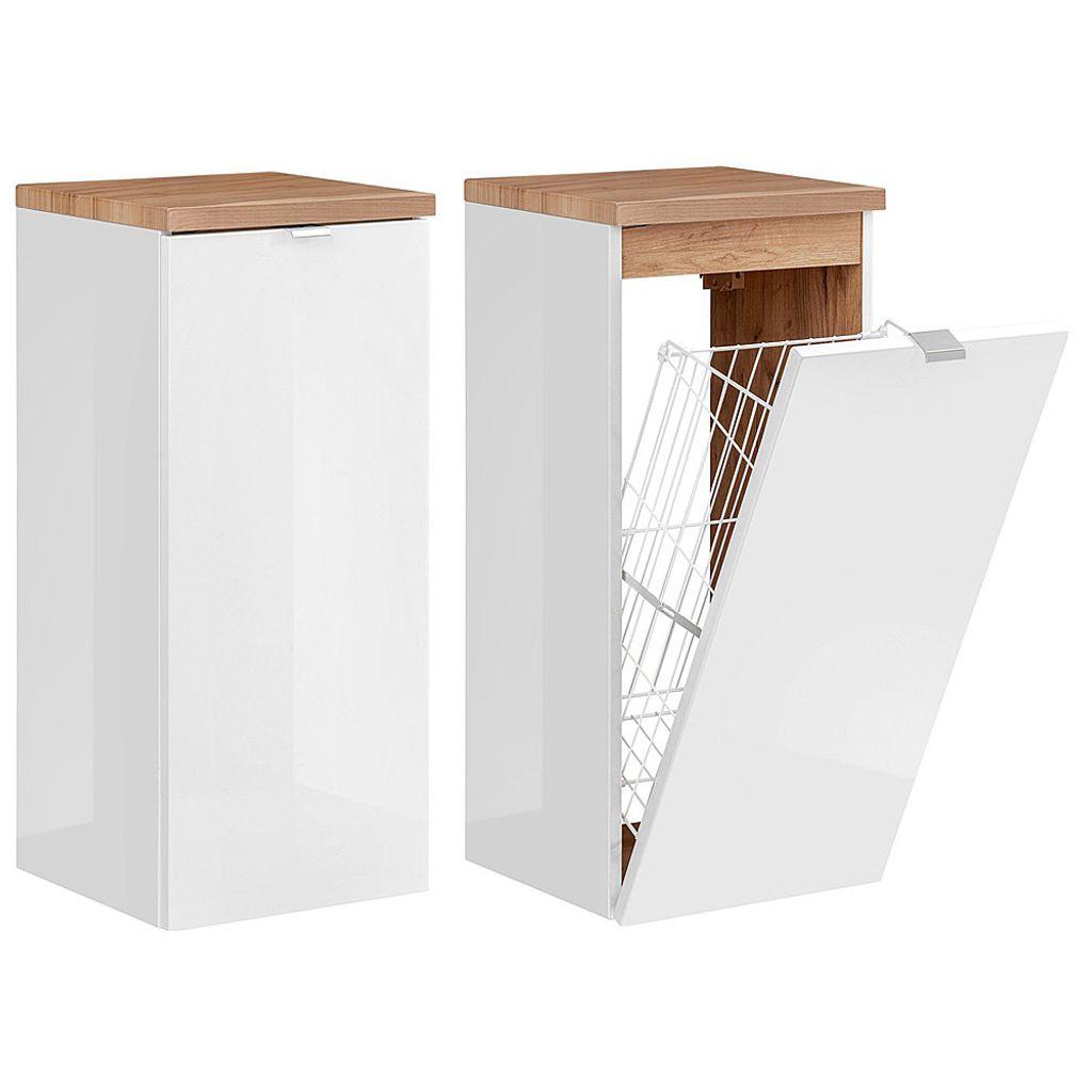 Badezimmer Unterschrank mit Wäschekorb TOSKANA 20 in Weiß Hochglanz B/H/T  ca. 20/20/20cm