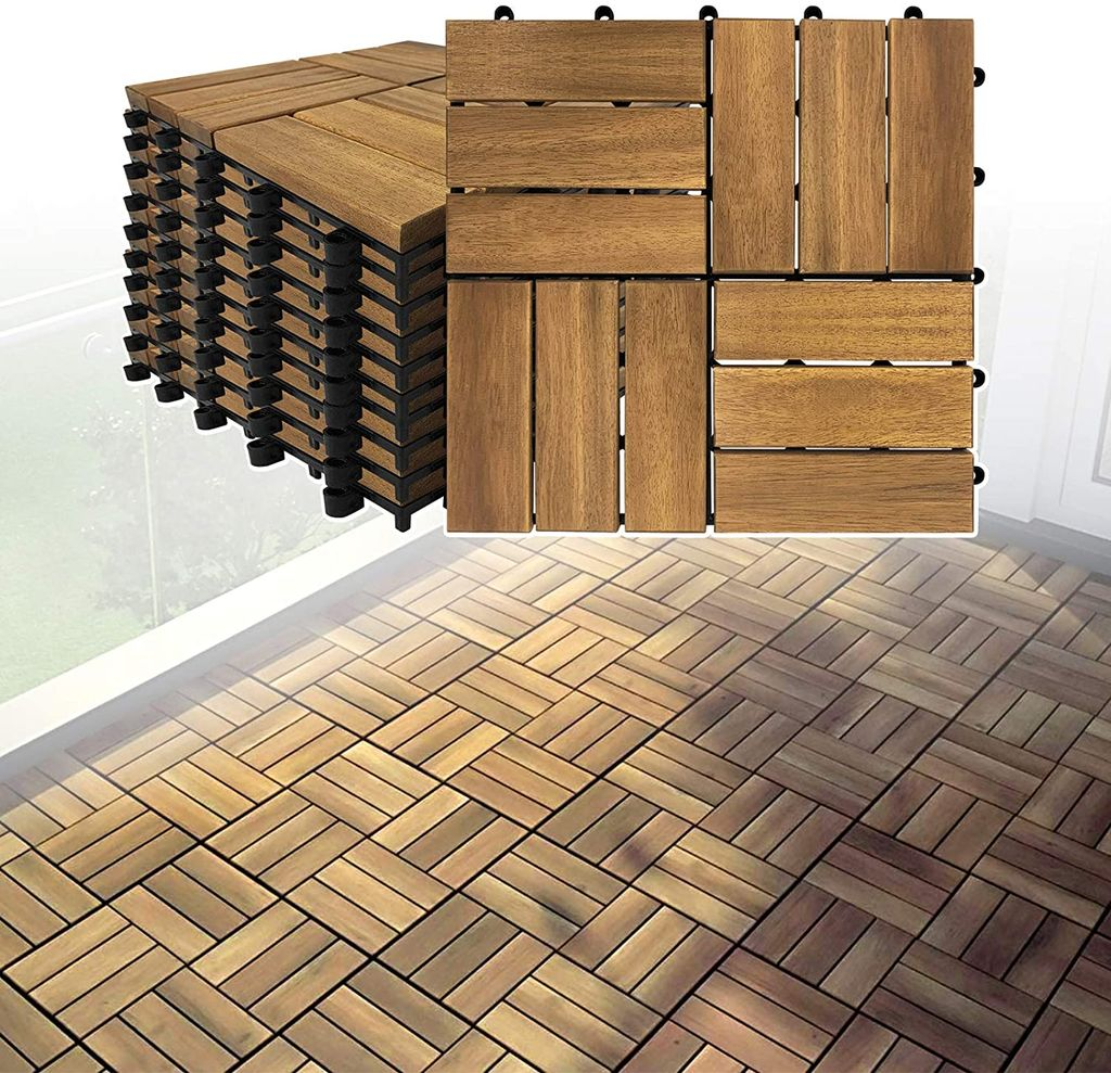 LARS12 Terrassenfliesen Balkonfliesen Holzfliesen Bodenfliese Bodenbelag  mit Klicksystem und Drainage Akazien Holz Deck Fliese für Terrassen Balkon  ...