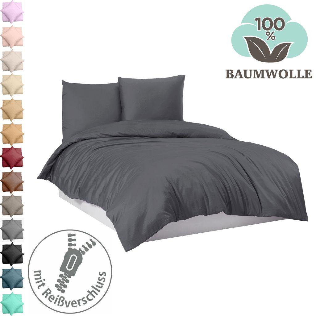 200x220 Bettwäsche 100/% Baumwolle Renforce Bettbezug Garnitur Set 200x200