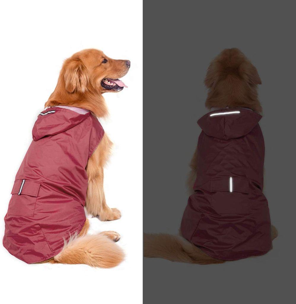 leichte Hunderegenjacke mit reflektierenden Sicherheitsstreifen wasserdicht SUNTRADE Hunde-Regenmantel mit Kapuze
