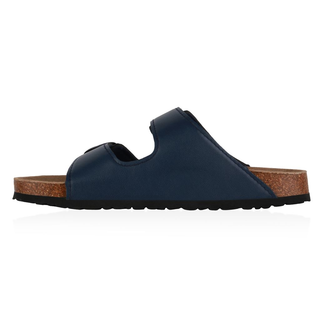 Herren Sandalen Pantoletten Flache Kork-Optik Bequeme Hausschuhe 835018 Schuhe