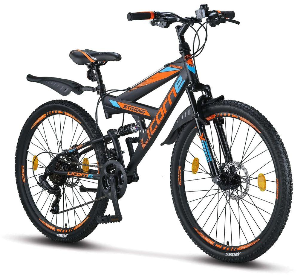 Licorne Bike Strong 21D Premium Mountainbike in 216, 217,21 und 219 Zoll    Fahrrad für Jungen, Mädchen, Damen und Herren   Scheibenbremse vorne und  hinten ...