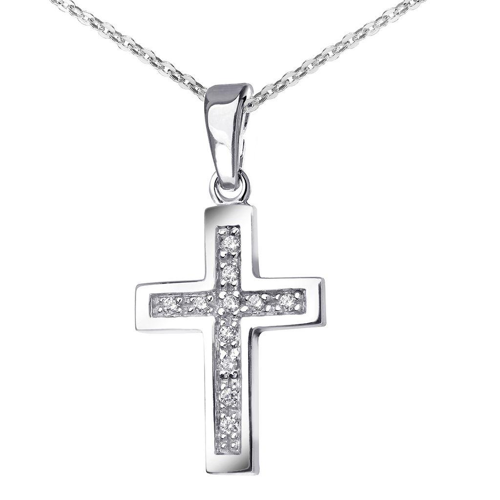 Etui 925 Sterling Silber Ankerkette 42 cm /& Anhänger Kreuz /& Zirkonia
