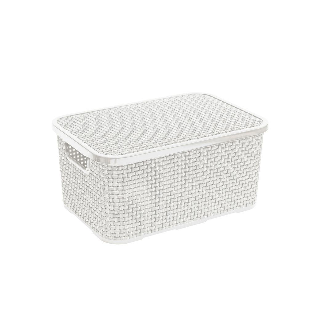 BranQ Rattan Korb mit Deckel Aufbewahrungskorb Aufbewahrungsbox weiß 20  Liter