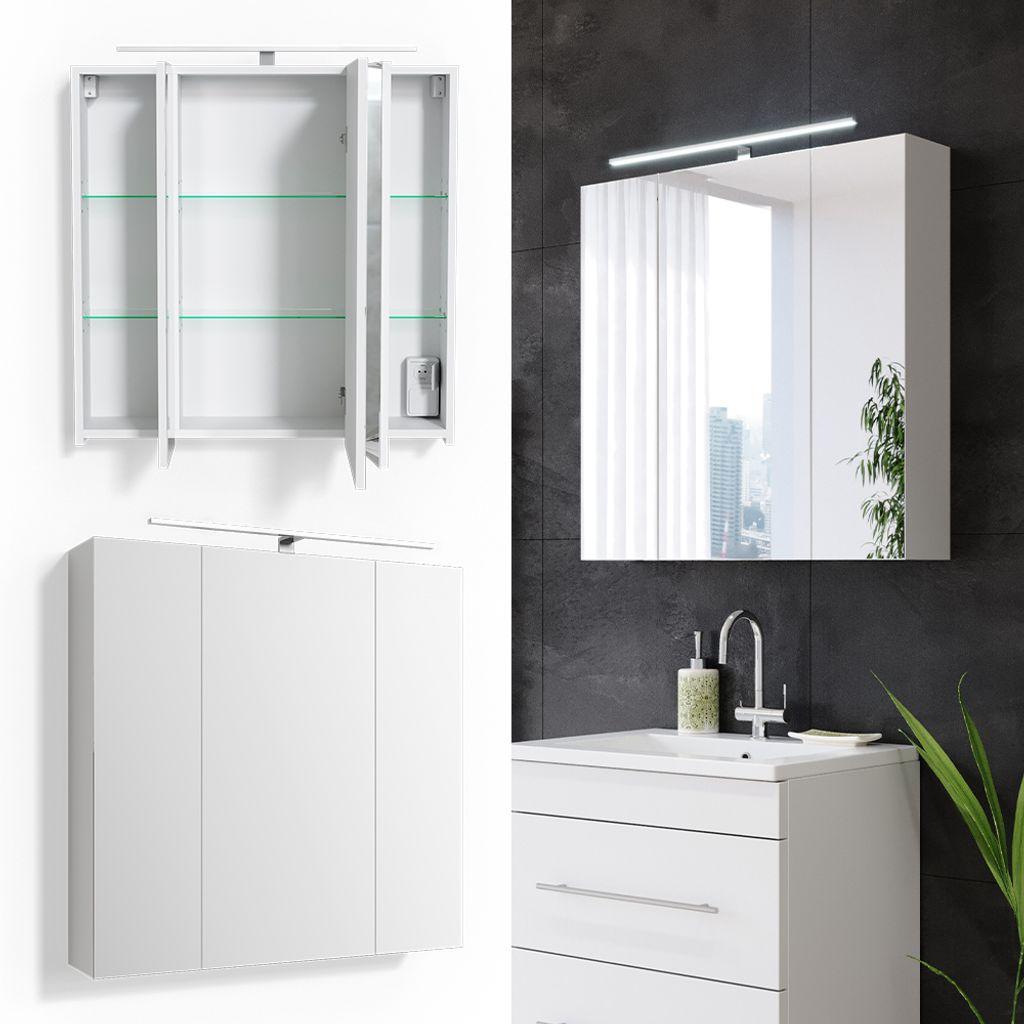 VICCO Spiegelschrank Badschrank RICK 20cm LED Beleuchtung Badspiegel  Wandspiegel