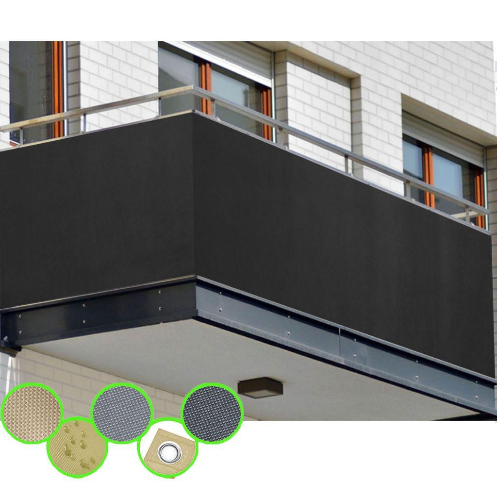 freigarten.de Balkon Sichtschutz PB8 PES blickdichte Balkonumspannung  8x8 cm   Anthrazit   mit Ösen und Kordel   in div. Größen & Farben  8x8 cm ...