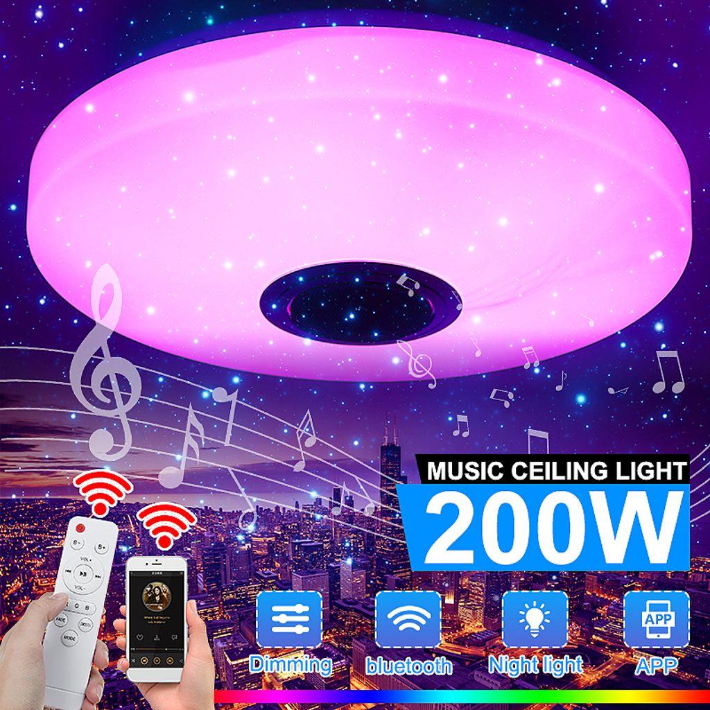 Dimmbar 70W 108LED Deckenlampe Sternen Deckenleuchte bluetooth Lautsprecher DE