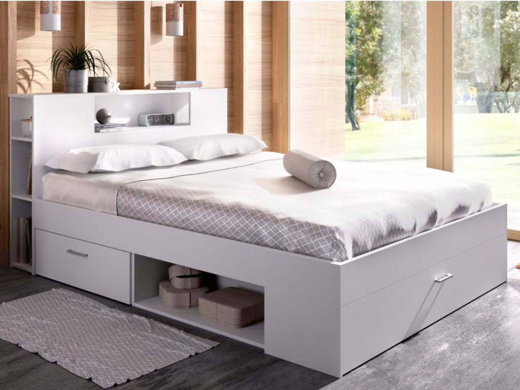 Bett mit Stauraum & Schubladen LEANDRE   12x12 cm   Weiß