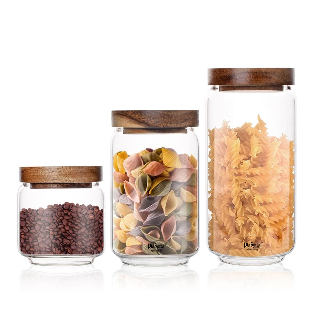 Premium Vorratsdosen Holz Deckel Vorratsgläser Glas Behälter Dose  Kaffeedose 12x Vorratsglas 12 ml