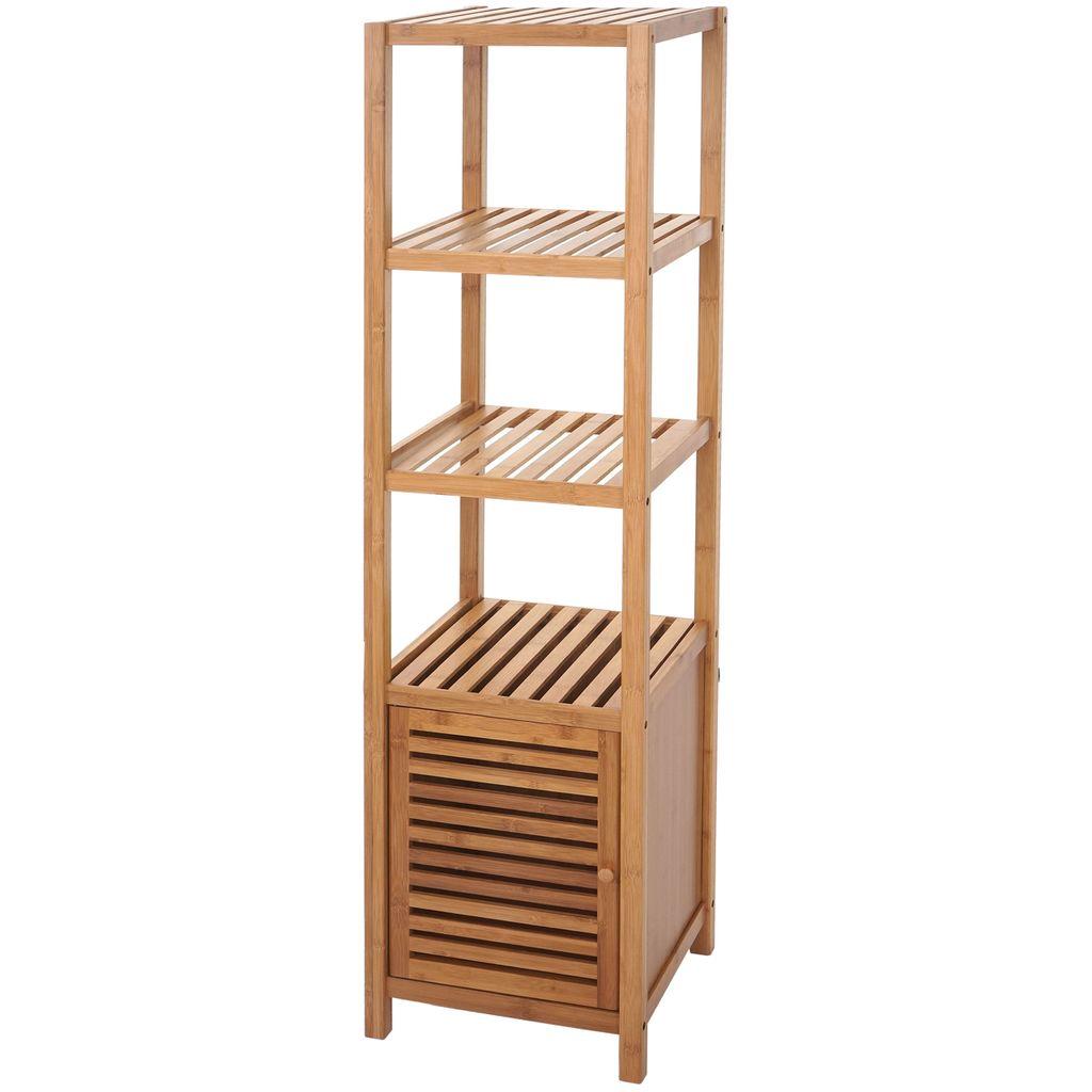 Badregal HWC B20, Badezimmer Badschrank Standregal mit Tür, Bambus  20x20x20cm